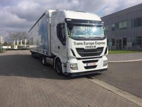 Truck Trans Europe Express outside building